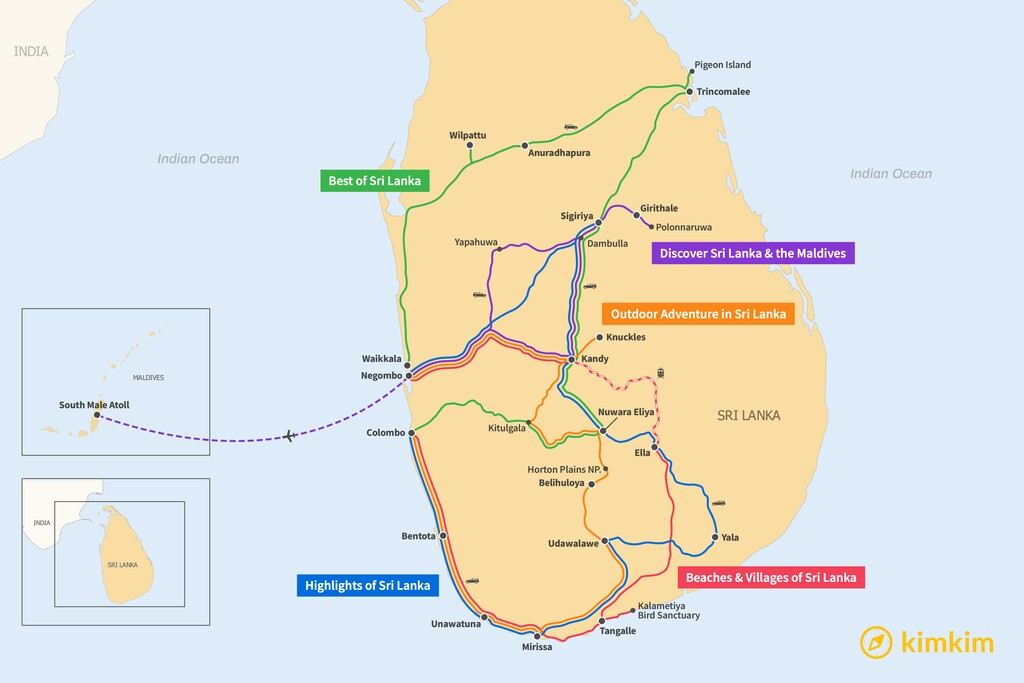 Map of 10 Days in Sri Lanka - 5 Unique Itineraries