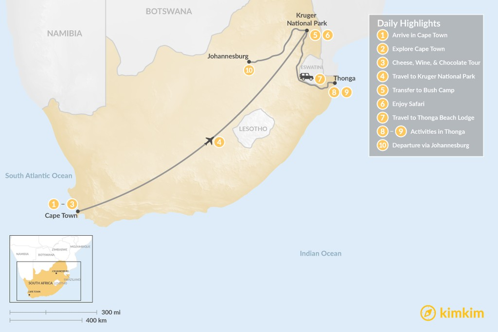 Map of Explore South Africa: Cape Town, Safari, & Beach - 10 Days
