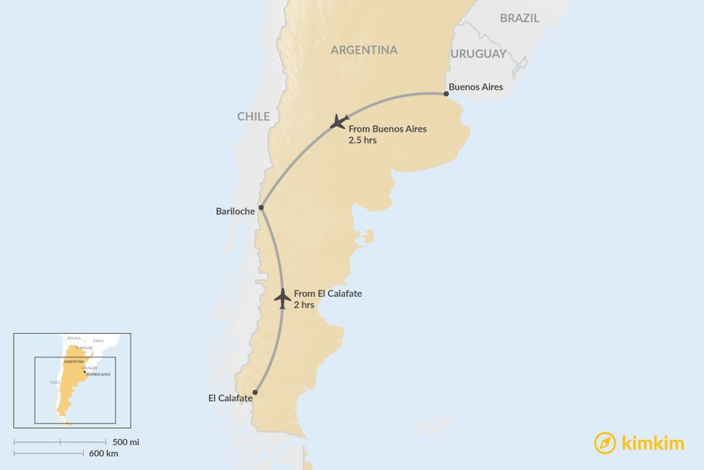 Map of How to Get to Bariloche