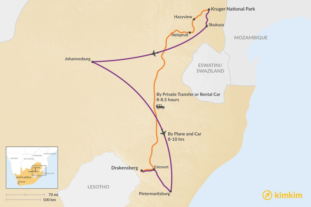 Map of How to Get from Kruger National Park to Drakensberg