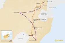 Map thumbnail of How to Get from Kruger National Park to Drakensberg
