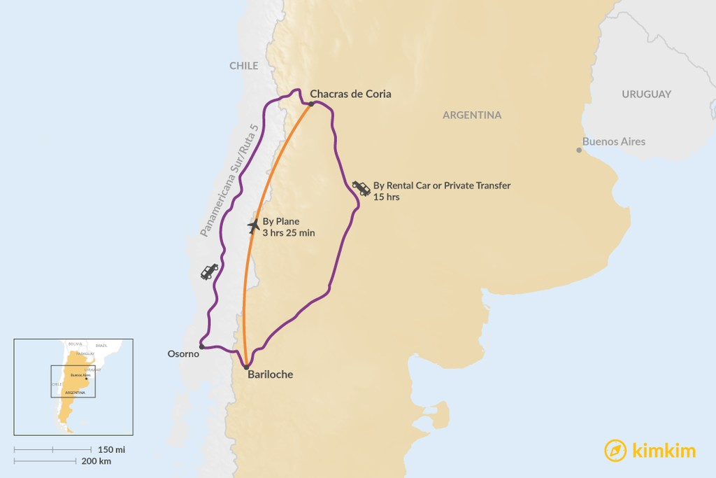 Map of How to Get from Bariloche to Chacras de Coria