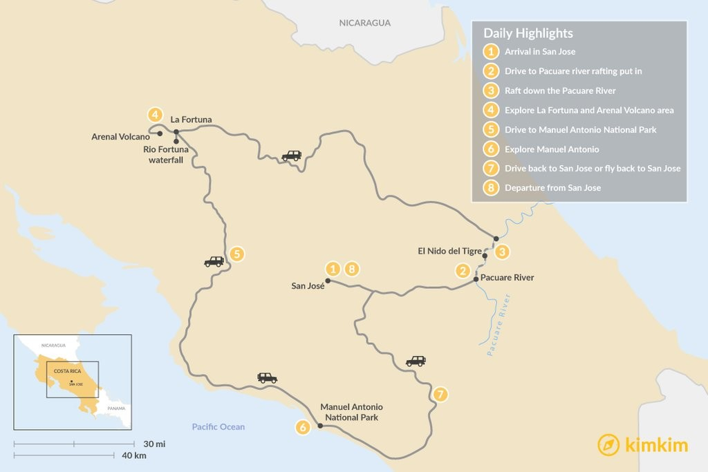 Map of Costa Rica Adventure: Whitewater, Beaches & Volcanos - 8 Days