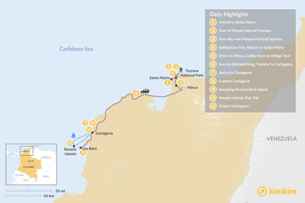 Map of Colombia's Caribbean Coast & Islands - 11 Days