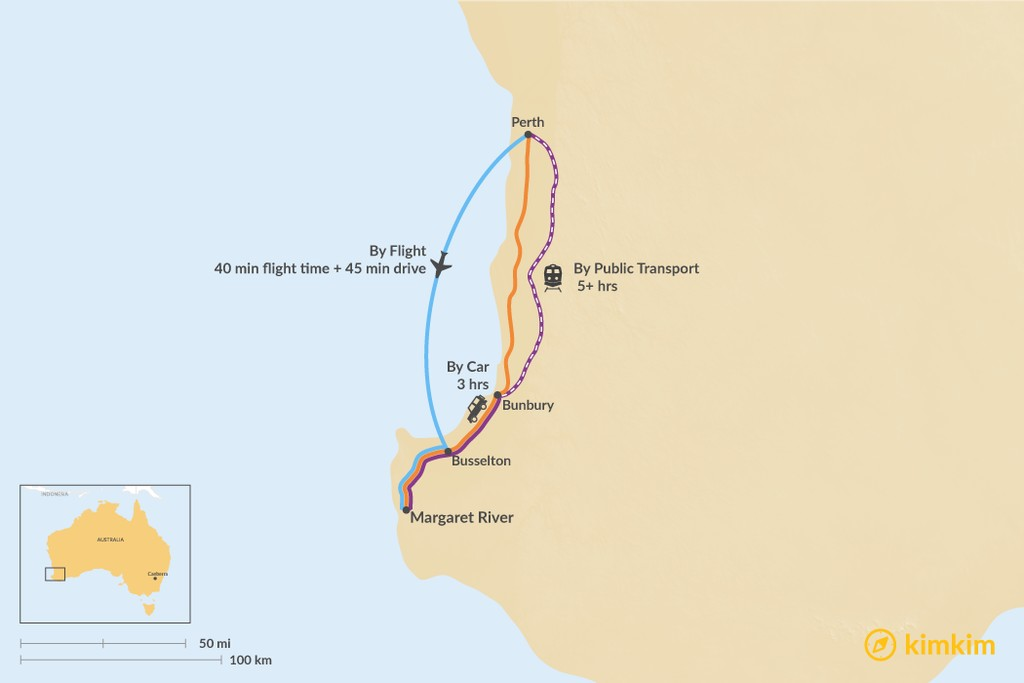 Map of How to Get from Perth to Margaret River