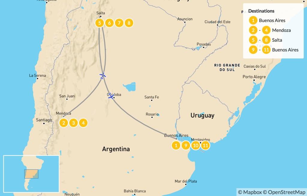 Map of Classic Argentina: Buenos Aires, Mendoza, & Salta - 12 Days