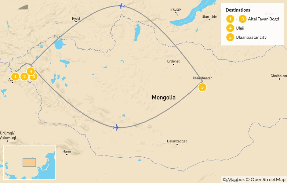 Map of Western Mongolia Trek: Altai Tavan Bogd National Park - 5 Days
