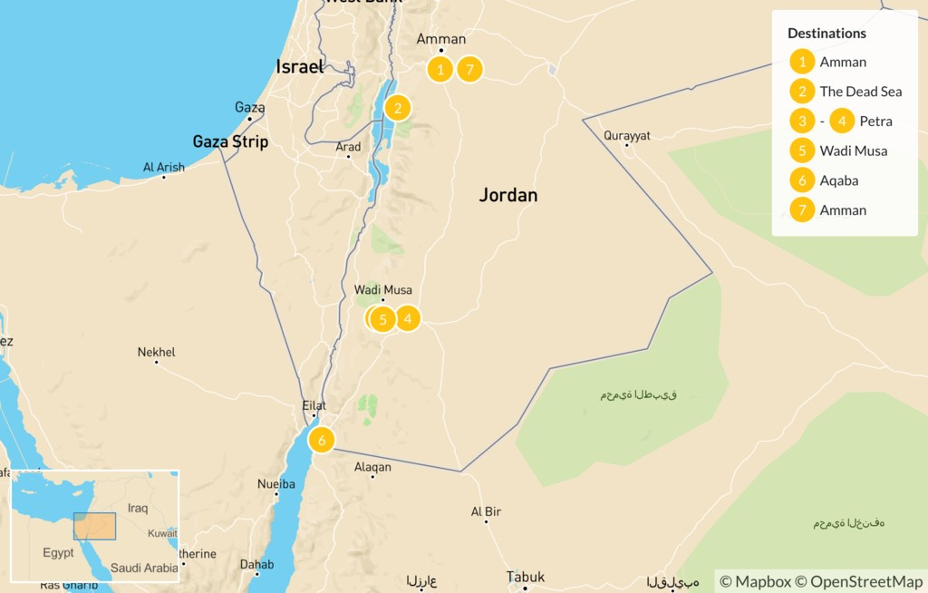 Map of Highlights of Jordan by Bike - 8 Days