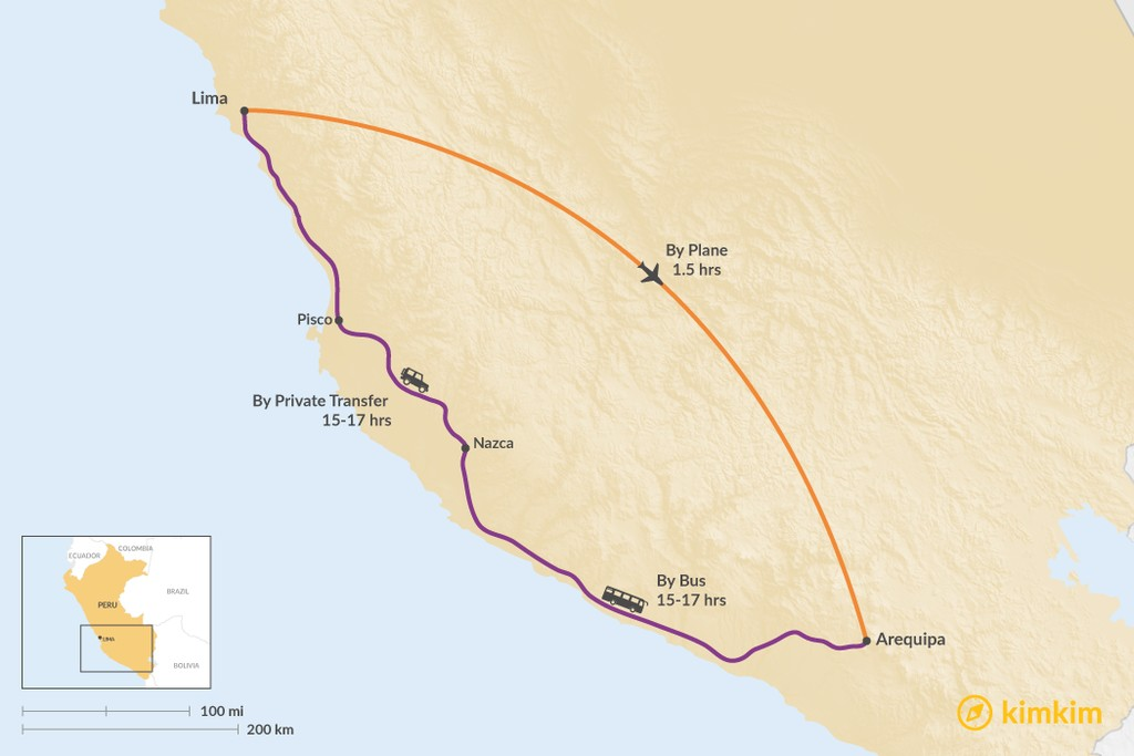 Map of How to Get from Lima to Arequipa