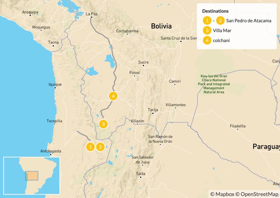 Map of Discover the Atacama Desert & the Uyuni Salt Flats - 5 Days