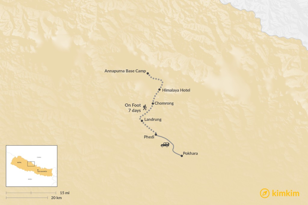 Map of How to Get to Annapurna Base Camp
