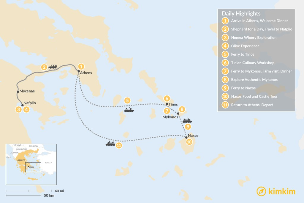 Map of Cyclades & Peloponnese Culinary Heritage - 11 Days