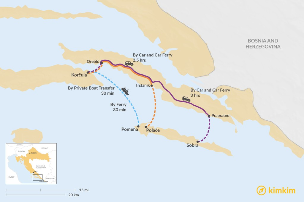 Map of How to Get from Korčula Island to Mljet Island