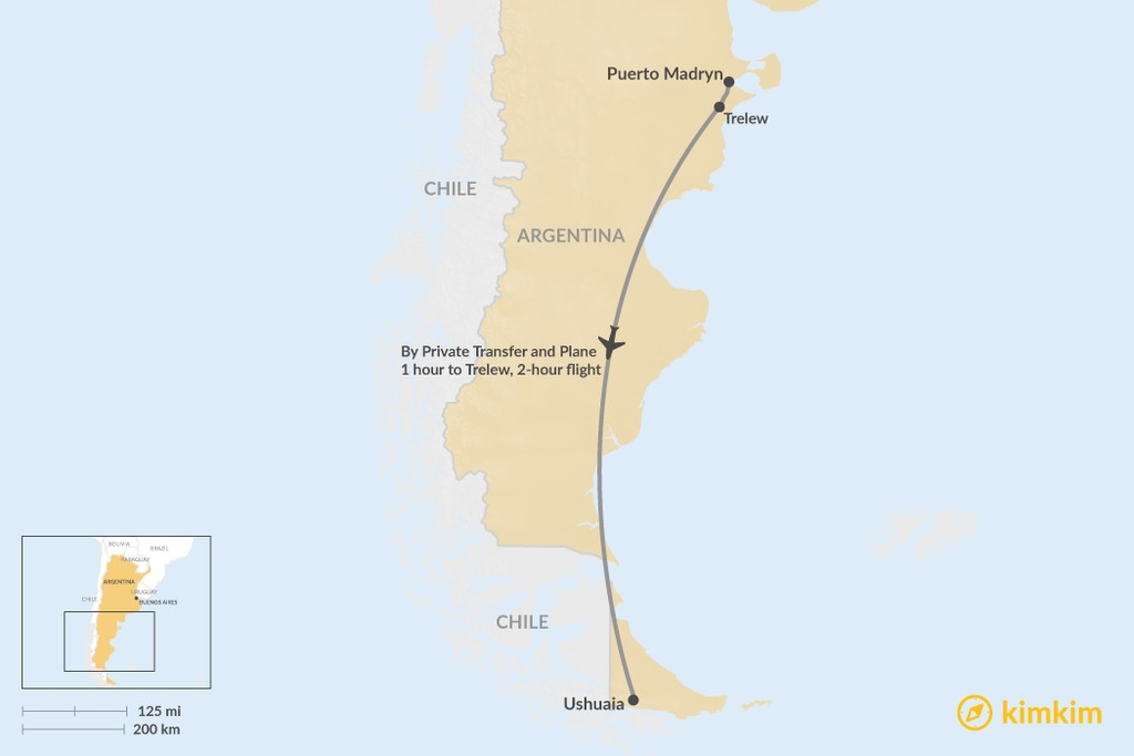 Map of How to Get from Puerto Madryn to Ushuaia