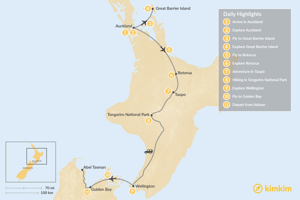 Map of Highlights of the North Island and Top of the South, New Zealand - 11 Days