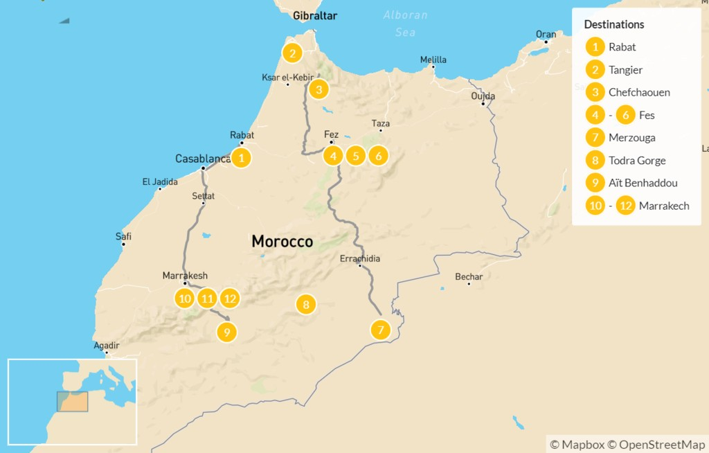 Map of Grand Moroccan Tour - 13 Days