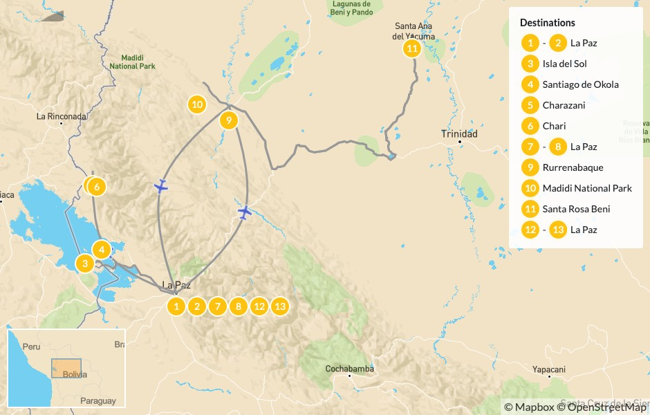 Map of Remote Trekking in Bolivia's Andes & Amazon - 14 Days