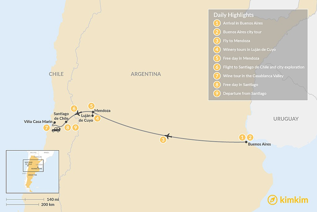 Map of Exploring the Wine Regions of Argentina & Chile - 9 Days