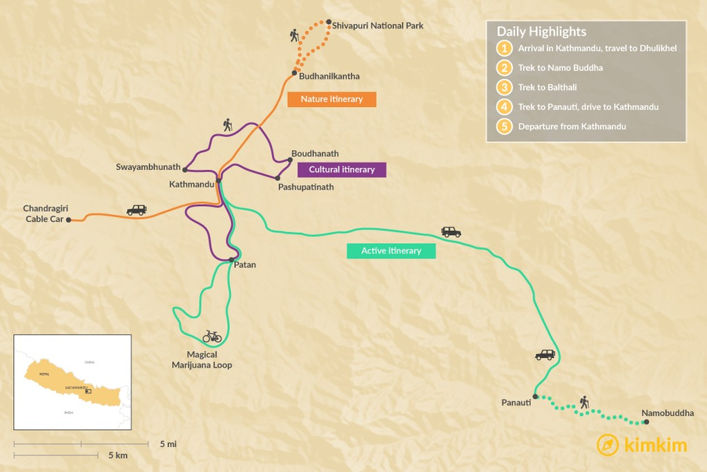 Map of Best of the Kathmandu Valley in 2 Days