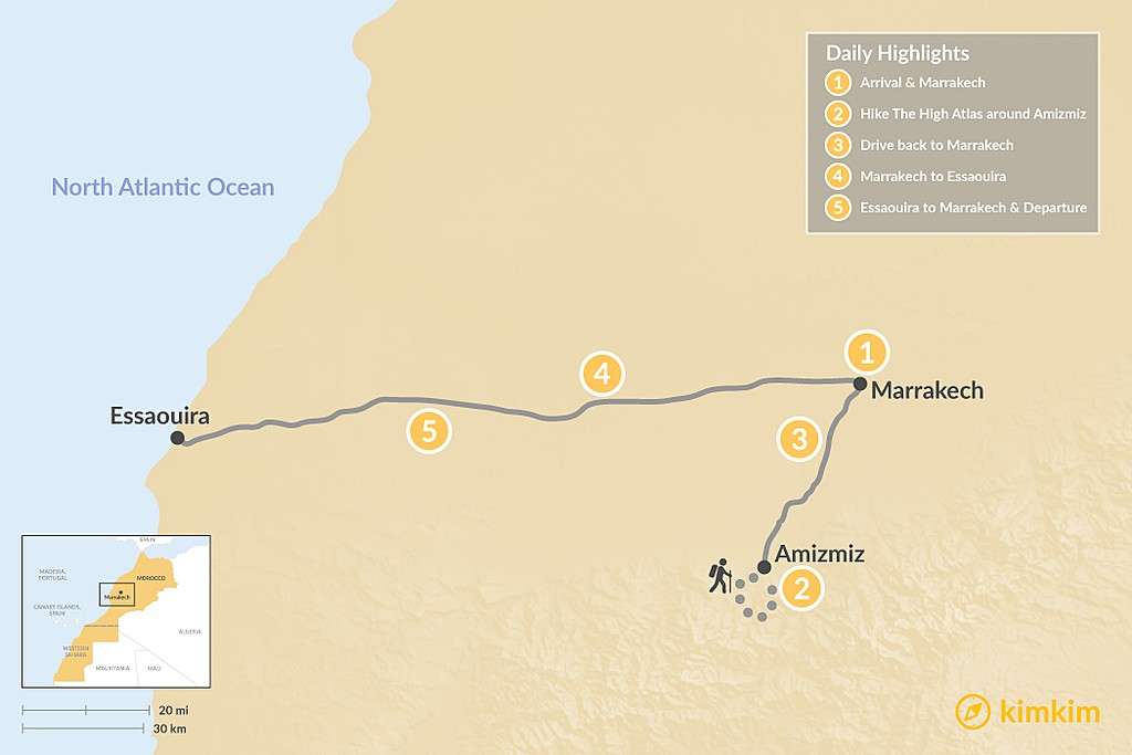Map of Exploring Marrakech, Atlas Hiking & the Coast - 5 Days