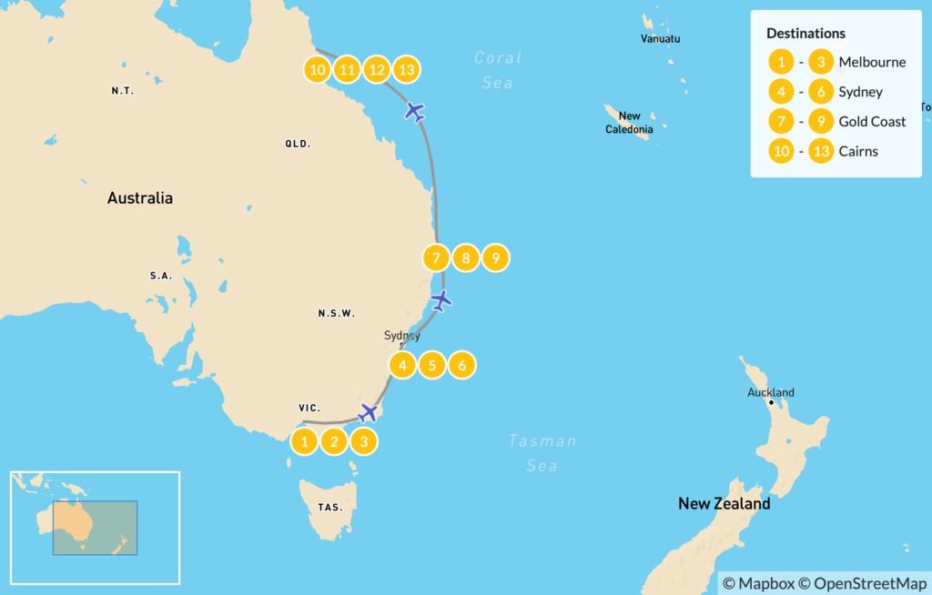 Map of Best of Australia's East Coast: Melbourne, Sydney, Gold Coast, & Cairns - 14 Days
