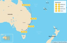 Map thumbnail of Best of Australia's East Coast: Melbourne, Sydney, Gold Coast, & Cairns - 14 Days