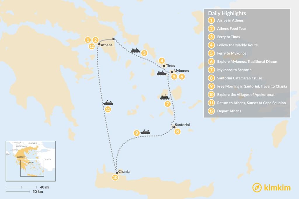 Map of Laid-Back Athens, Tinos, Mykonos, Santorini, and Crete - 12 Days