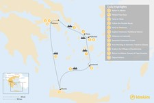 Map thumbnail of Laid-Back Athens, Tinos, Mykonos, Santorini, and Crete - 12 Days