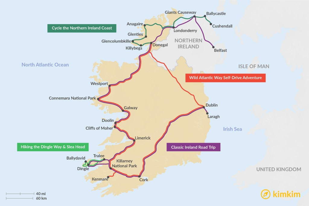 Map of 14 Days in Ireland - 4 Unique Itinerary Ideas