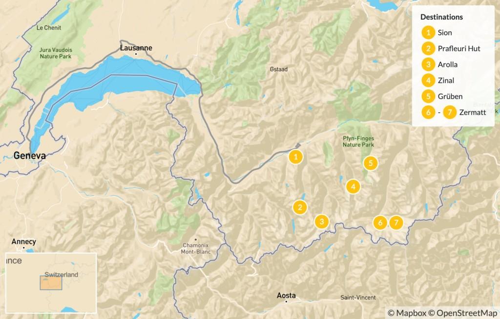 Map of Chamonix to Zermatt Walker's Haute Route - 8 Days