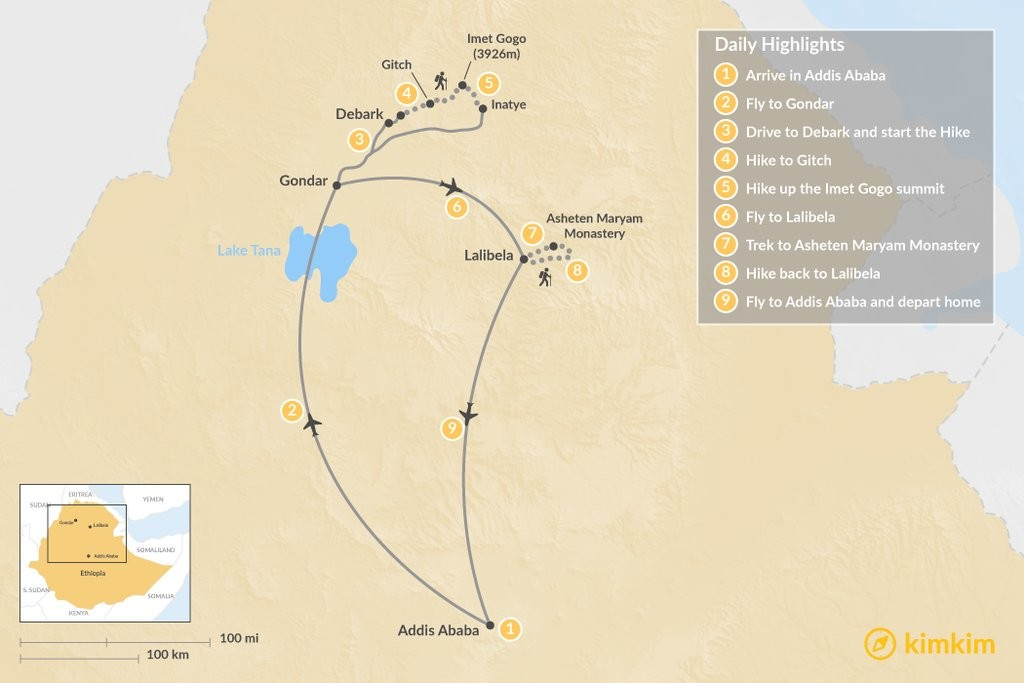 Map of Trekking in the Simien Mountains and around Lalibela - 9-Day Itinerary