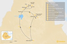 Map thumbnail of Trekking in the Simien Mountains and around Lalibela - 9-Day Itinerary
