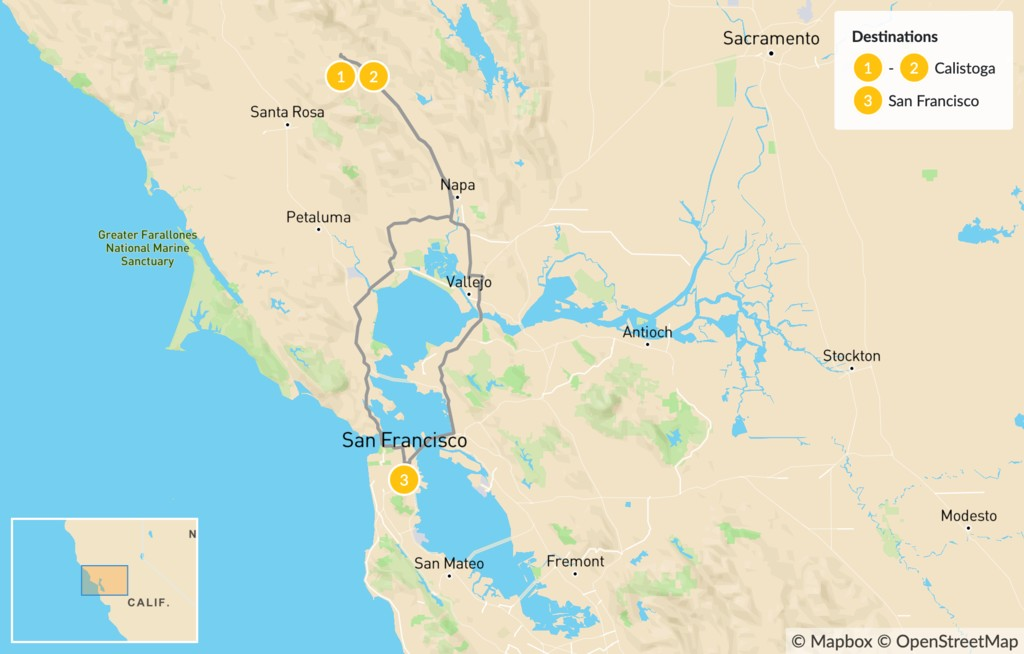 Map of Wine Country & Hot Springs - 3 Days