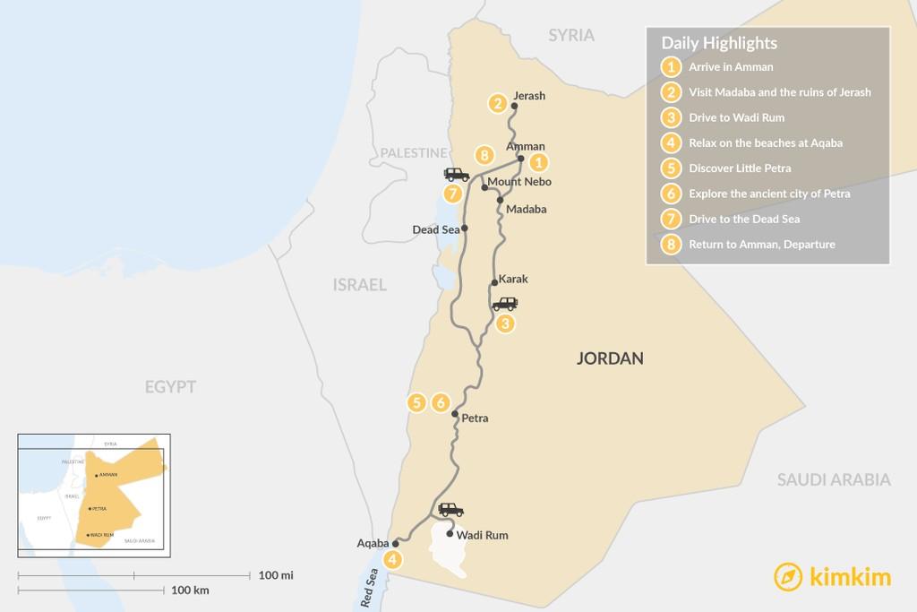 Map of Family Trip to Jordan:  Petra, Dead Sea, Wadi Rum, & More – 8 Days