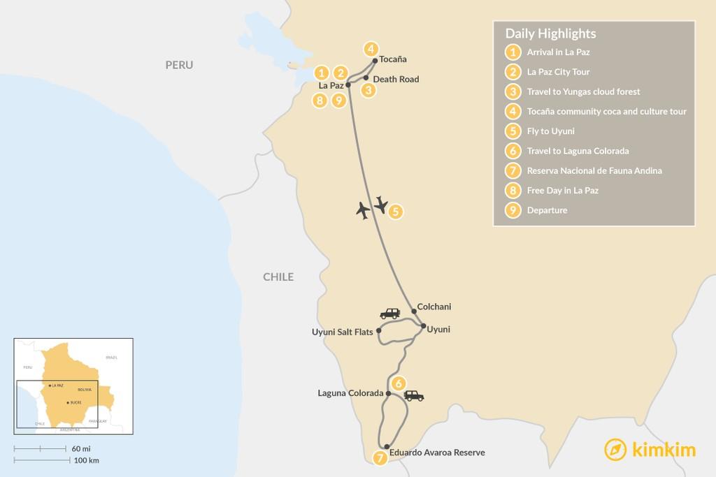Map of Bolivian Cities, Cloud Forests & Salt Flats - 9 Days