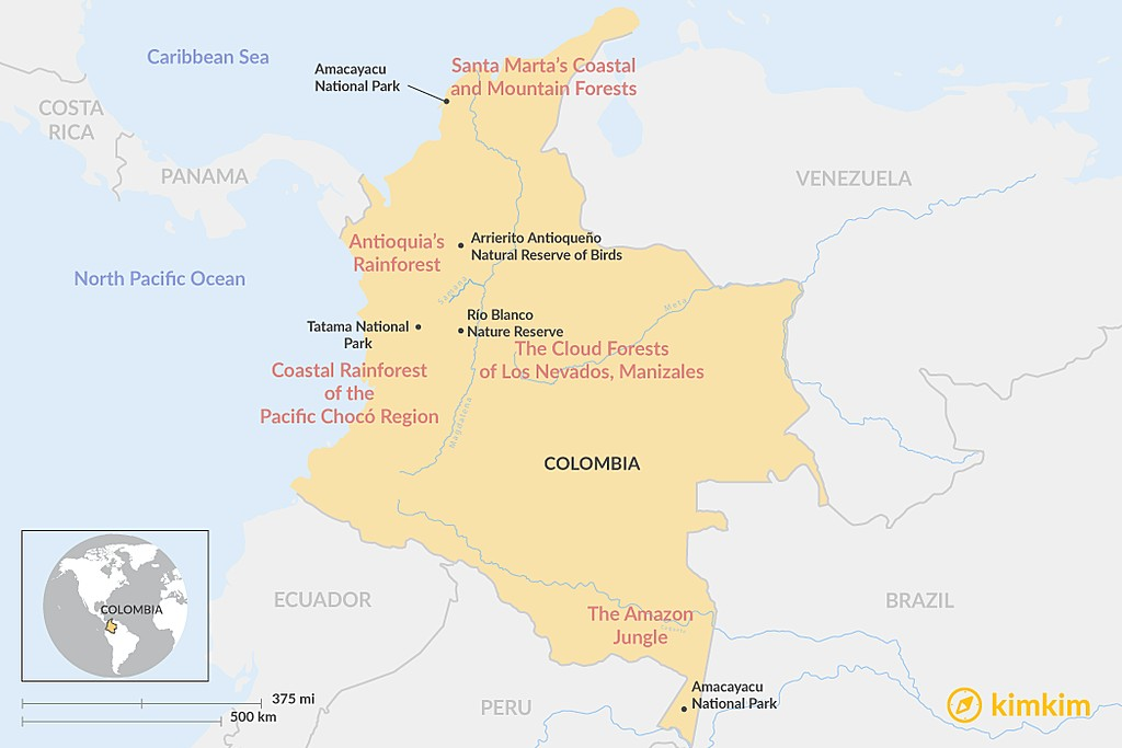 Map of Colombia's Top 5 Bird-Watching Destinations