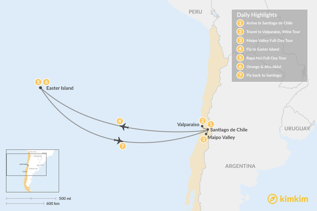 Map of Easter Island & Santiago - 7 Days