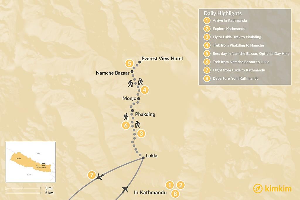 Map of Namche Bazaar Trek - 8 Days