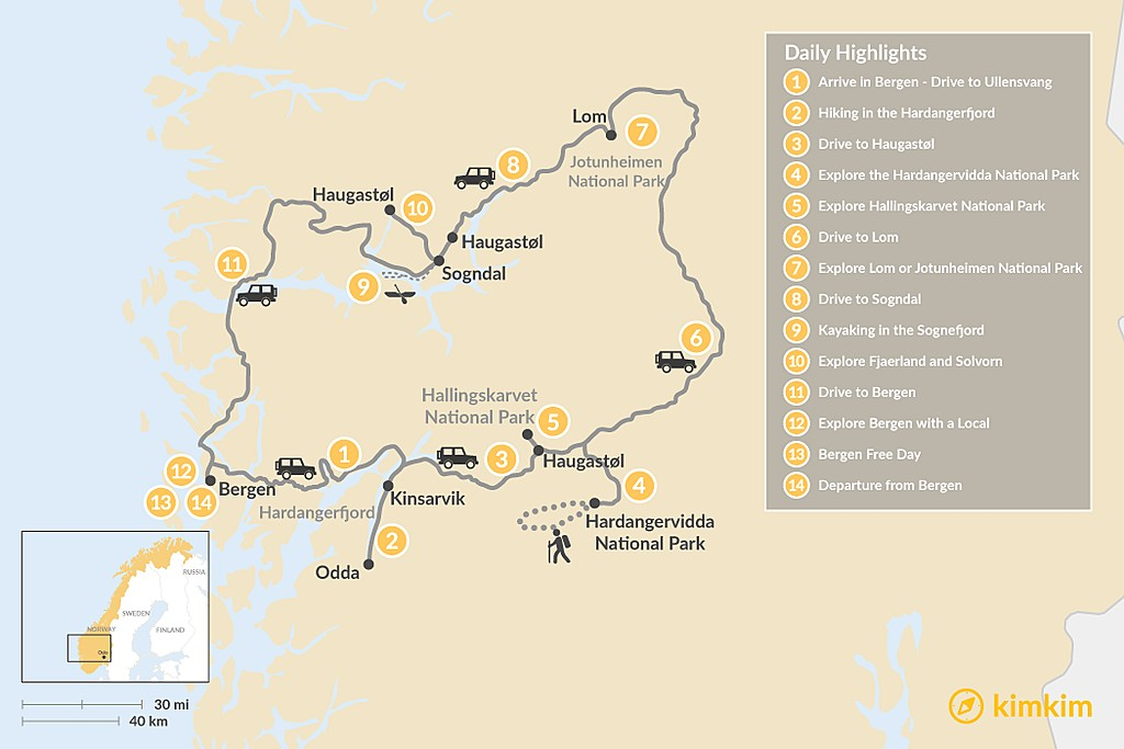 Map of Nordic Road Trip for Nature Lovers - 14 Days