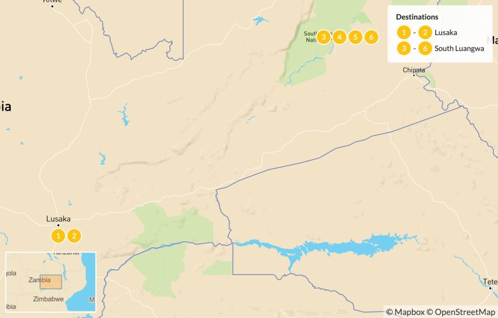 Map of Lilayi & South Luangwa Safari in Zambia - 7 Days