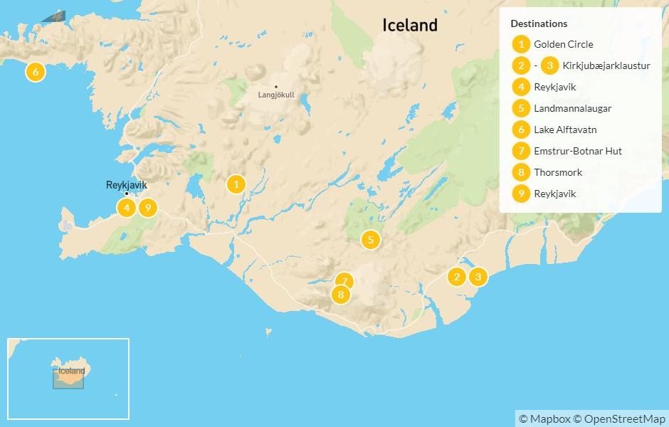 Map of South Coast & Laugavegur Trek - 10 Days