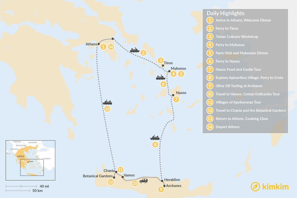 Map of Cyclades & Crete Culinary History Tour - 14 Days