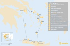 Map thumbnail of Cyclades & Crete Culinary History Tour - 14 Days