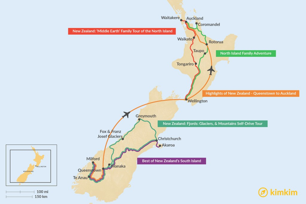 Map of 10 Days in New Zealand - 5 Unique Itinerary Ideas