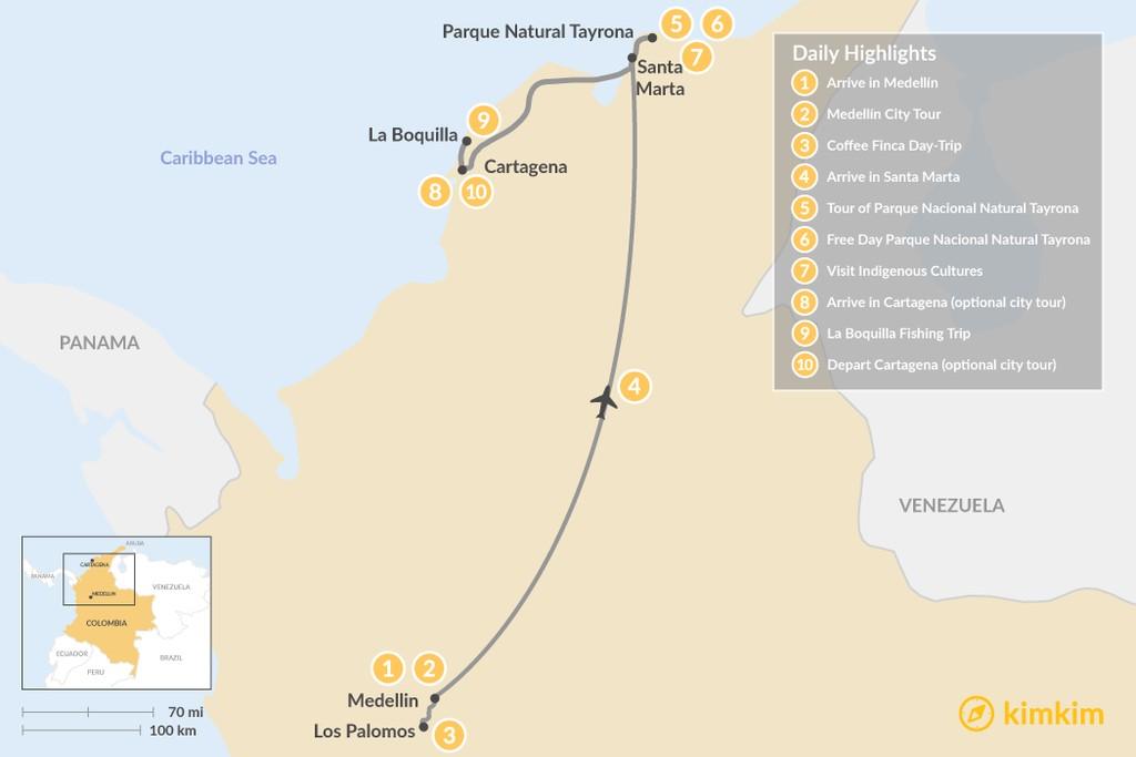 Map of Explore Medellín & the Caribbean Coast - 10 Days