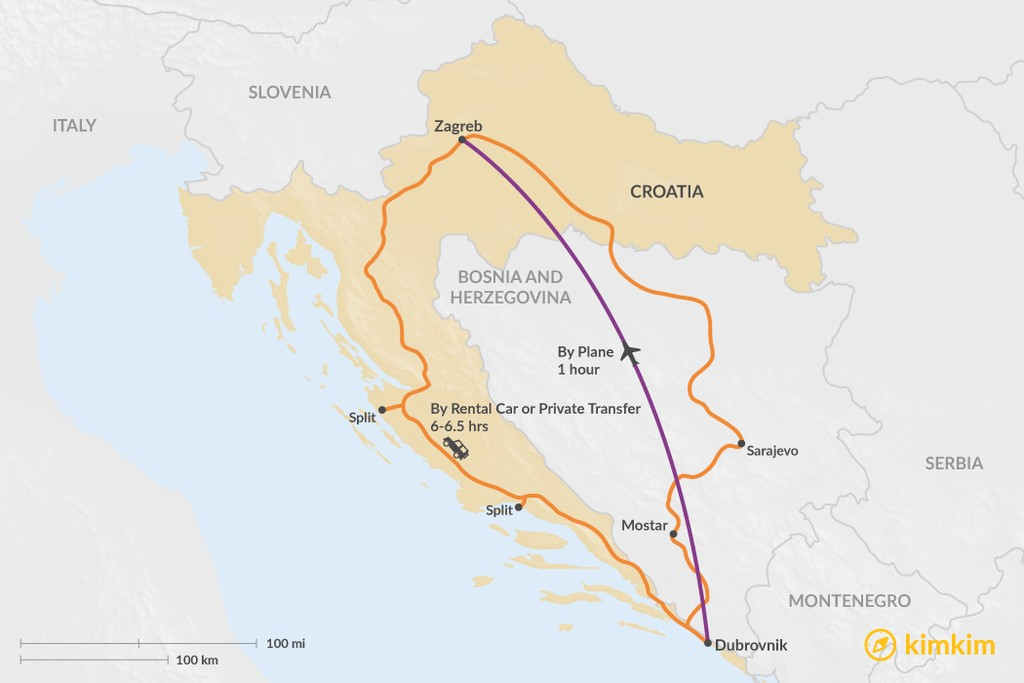 Map of How to Get from Dubrovnik to Zagreb