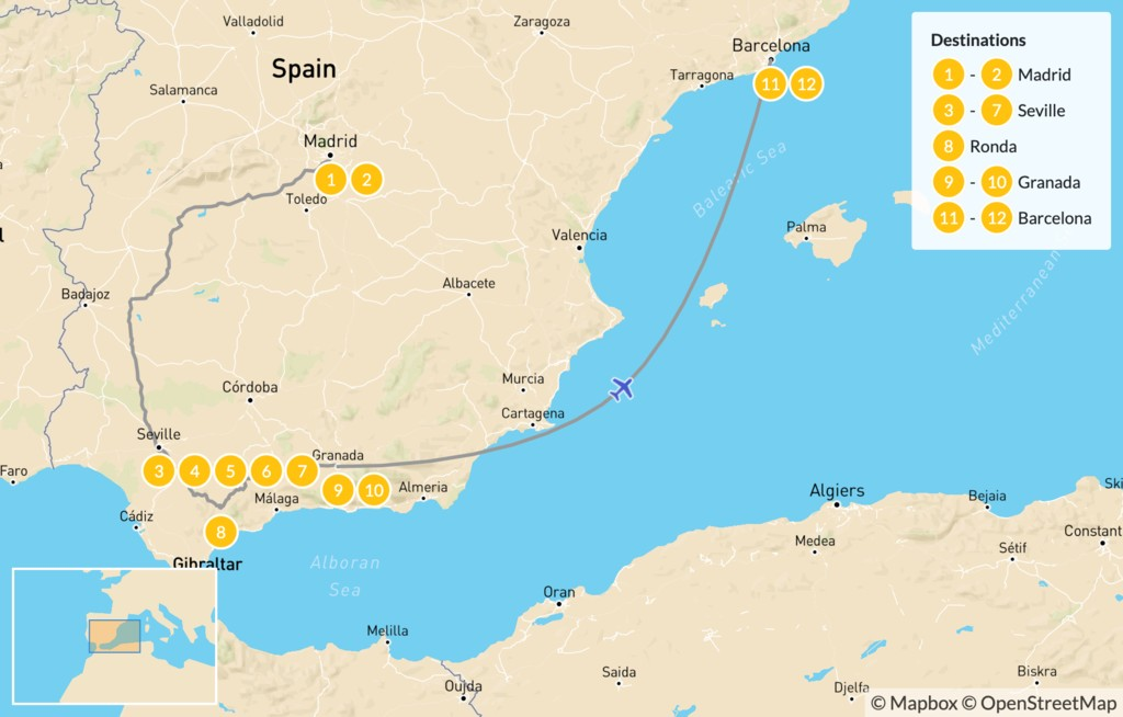 Map of Best of Spain Highlights Tour: Barcelona, Madrid, & Seville - 13 Days