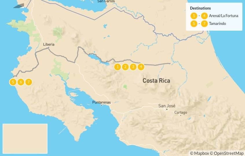 Map of Costa Rica Road Trip: Arenal & the Nicoya Peninsula - 8 Days