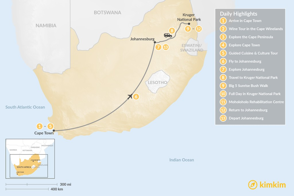Map of Classic South Africa: Cape Town, Johannesburg, & Kruger Safari - 13 Days
