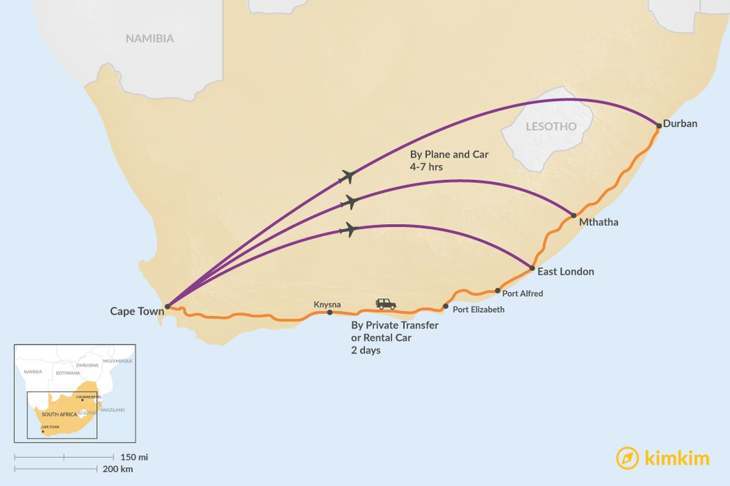 Map of How to Get from Cape Town to the Wild Coast
